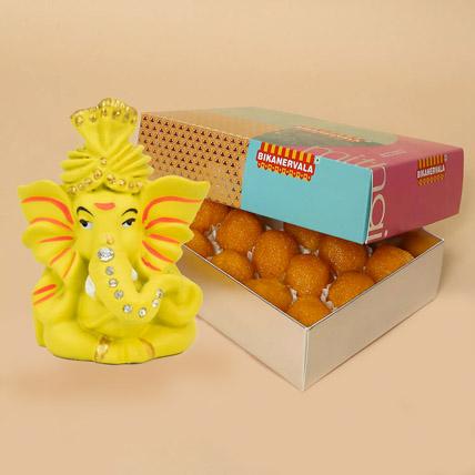 Motichoor Laddoo And Ganesha Combo: Deepavali Sweets
