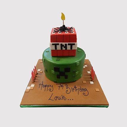2 Tier Minecraft Cake: Minecraft Birthday Cake