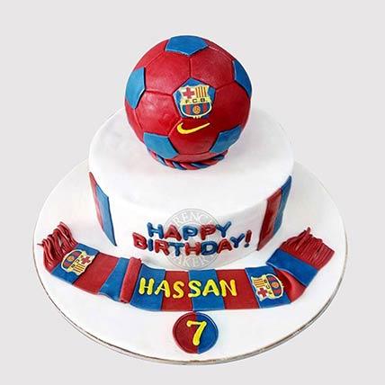 FC Barcelona Theme Cake: Football Theme Cake