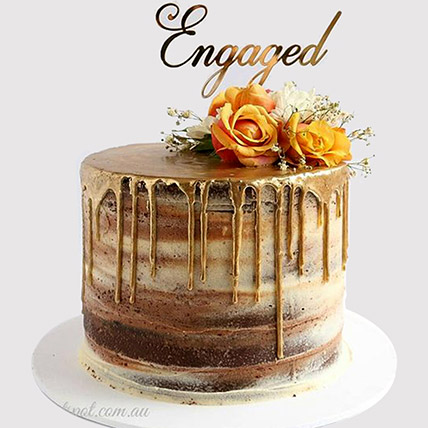 Floral Engagement Cake: