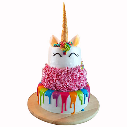 Happy Unicorn 3 Layered Cake: Unicorn Cake Dubai