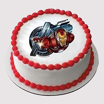Iron Man Round Photo Cake: Iron Man Birthday Cake