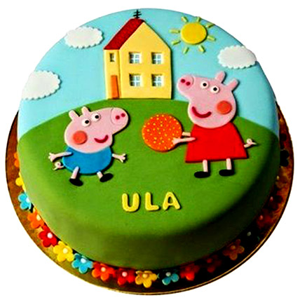 Peppa Pig Playing Fondant Cake: