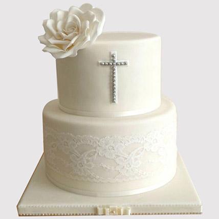 Pretty White Floral Christening Cake: Christening Cake