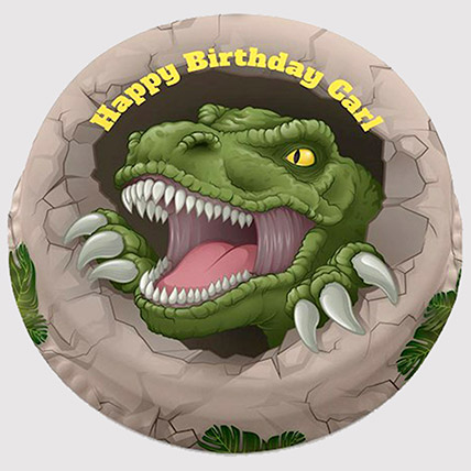 Round Dinosaur Cake: Dinosaur Theme Cakes