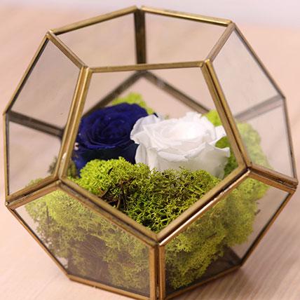 Blue and White Roses In Designer Base: Forever Roses