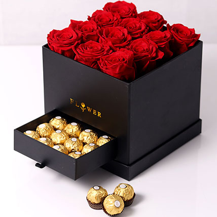 Forever Red Roses With Rochers In Box: Congratulations Flower Bouquet