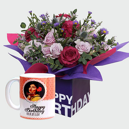 Birthday Special Flowers and Personalised Mug: