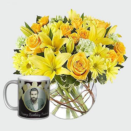 Floral Arrangement and Personalised Mug: