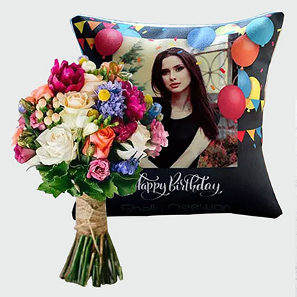 Flowers Bunch and Personalised Birthday Cushion: