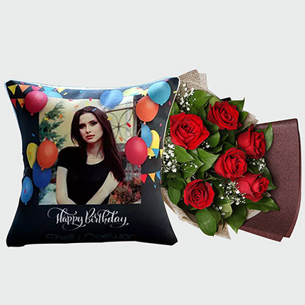 Red Rose Bouquet and Personalised Cushion: Flowers N Personalised Gifts