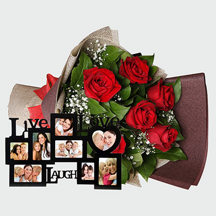 Roses Bouquet and Personalised Frame: