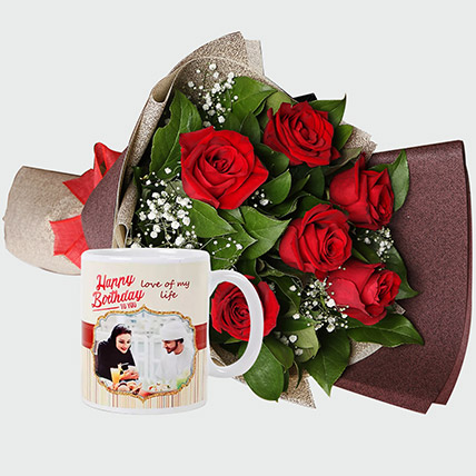 Roses Bouquet and Personalised Mug: Personalised Gifts for Girlfriend