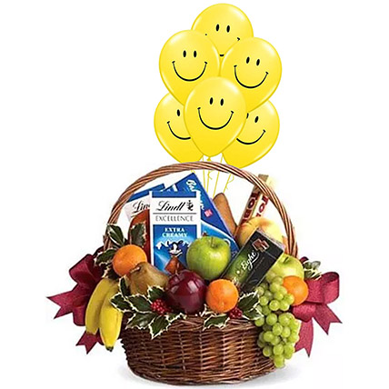 Fruitful Hamper With Smiley Balloons: Flowers and Balloons
