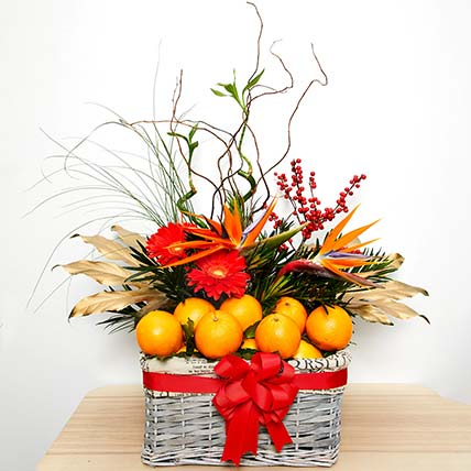 Tempting Fruits With Flowers Hamper: