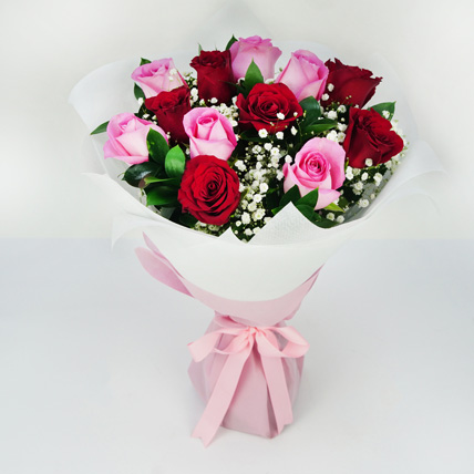Pink and Red Roses Grand Bouquet: Valentine Flower Arrangements
