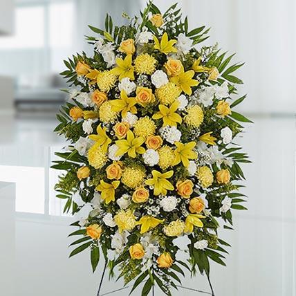 Happy Yellow Flower Stand: Flower Wreath