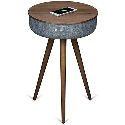 Walnut Wood Table with Bluetooth Speaker & Wireless Charger: Unique Gifts Dubai
