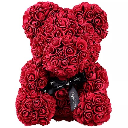 Maroon Artificial Roses Teddy Bear: Valentine Gifts