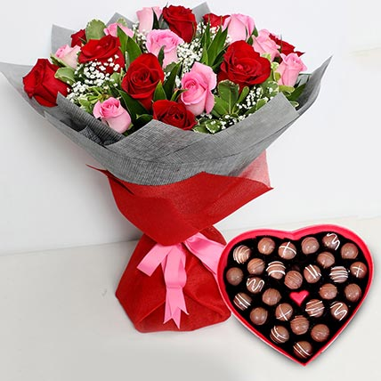 Pink and Red Roses Bouquet with Heartshaped Chocolates: