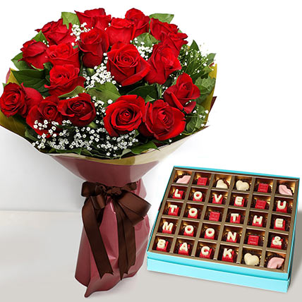 20 Red Roses Bouquet with Valentines Chocolates: Valentine Day Gift Hampers to Abu Dhabi