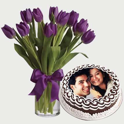 Flowers & Chocolate Cake Combo: Photo Cakes