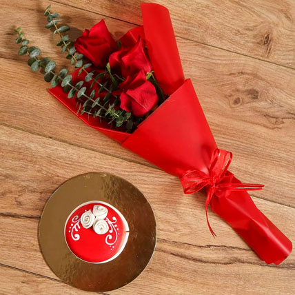 Red Roses Bouquet and Mono Cake Combo: Raksha Bandhan Gifts for Sister