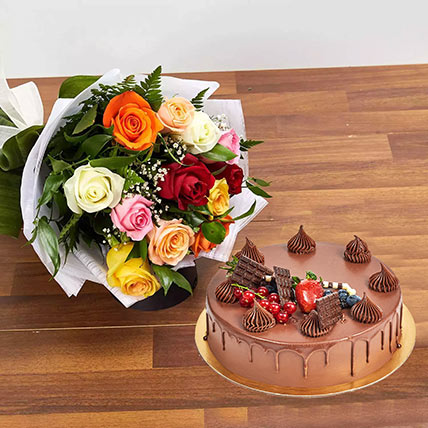 Dozen Multi Roses with Fudge Cake: