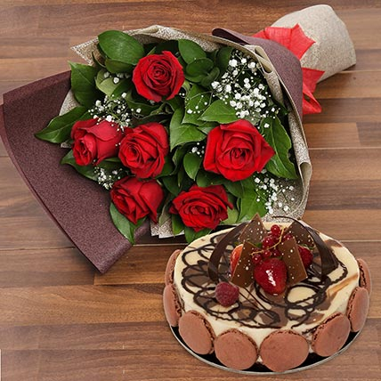 Enchanting Rose Bouquet With Marble Cake: Anniversary Flowers & Cakes