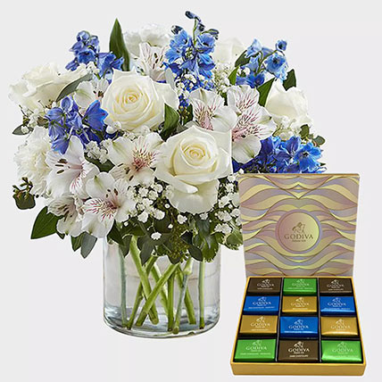 Royal Blooms and Godiva Chocolate Bar: Flowers and Chocolate Delivery