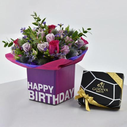 Vibrant Flowers and Godiva Chocolates For Birthday: Send Chocolates in Al Ain