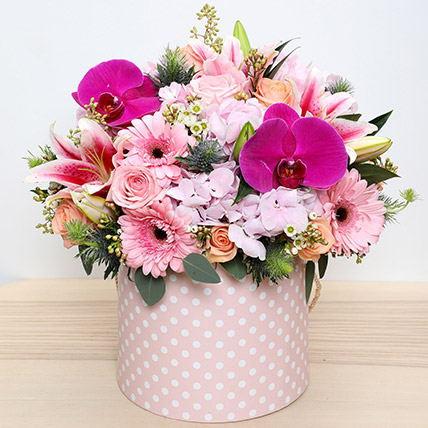Pink and Peach Mixed Flowers Arrangement: Flower in a Box