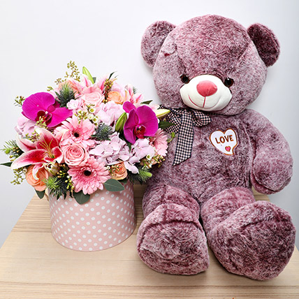Purple Teddy N Flower Arrangement:
