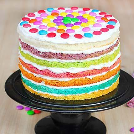 M and M Rainbow Cake: Rainbow Cakes