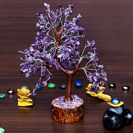 Purple Agate Stone Handcrafted Wishing Tree: New Arrival Gifts in Dubai