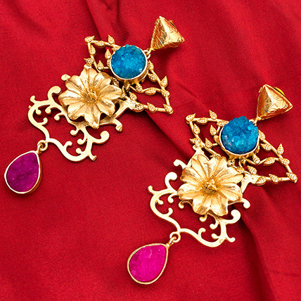 Gold Plated Drop Earrings: Artificial Jewellery
