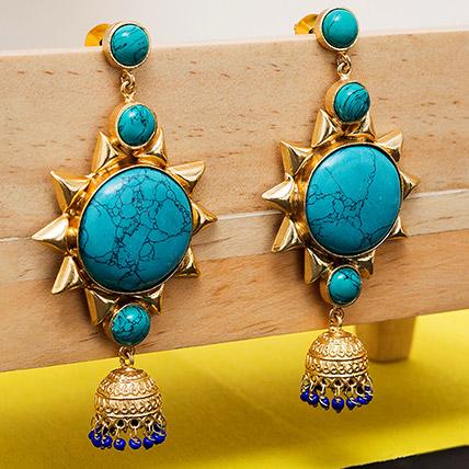 Gold Toned Dome Earrings: Ladies Earrings