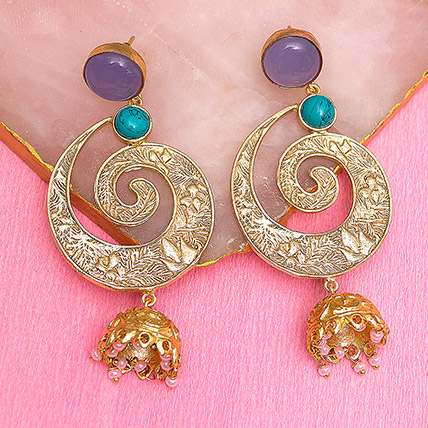 Gold Toned Dome Shaped Jhumkas: Earrings for Women