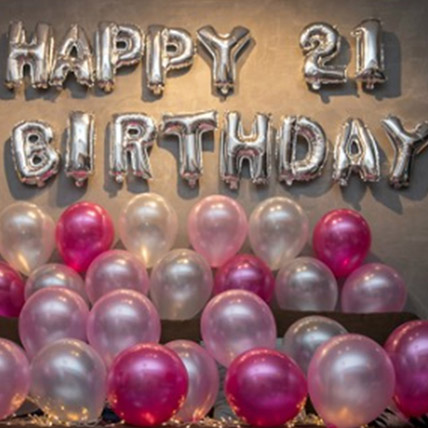 21st Birthday Pink Balloon Decor: Balloon Decoration Dubai
