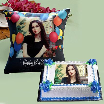 Personalised Birthday Cushion And Cake Combo: Birthday Photo Cakes