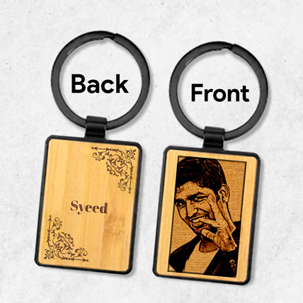 Wooden Keychain Personalised With Photo:  Engraved Personalised Gifts