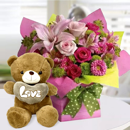 Mixed Flower Arrangement and Teddy Combo: Flowers and Teddy Bears