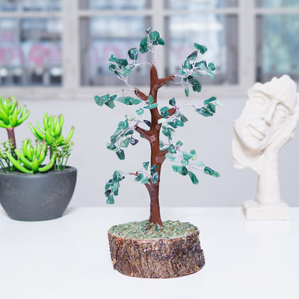 Green Agate Stone Handcrafted Wish Tree: Wish Trees