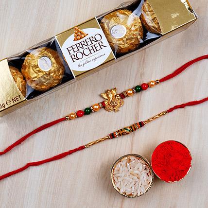 Combo 2 Designer Rakhis and 6 Pcs Ferrero Rochers: Set of 3 Rakhi