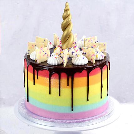 Unicorn Horn Vanilla Rainbow Cake: Rainbow Cakes