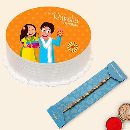 Red Pearl Rakhi and Rakshabandhan Cake:  Rakhi Delivery