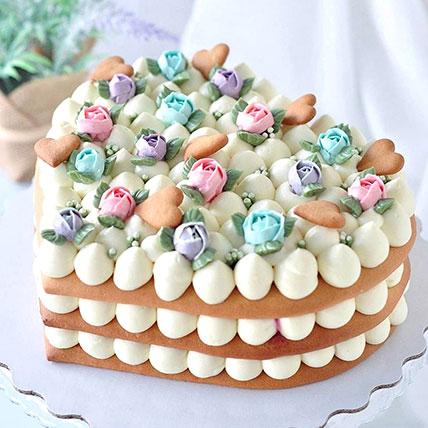 Pretty Flower Heart Cake 1.5Kg: Heart Shaped Cakes