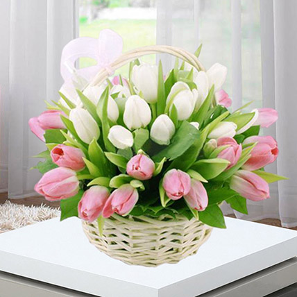 Pink White Tulips Basket: Basket Arrangements