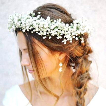 White Gypsophila Tiara: Flower Jewellery