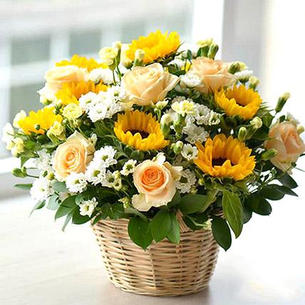 Beautiful Flower Basket: Chrysanthemum Flowers
